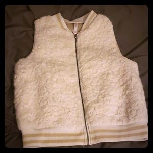 Faux fur white girls vest